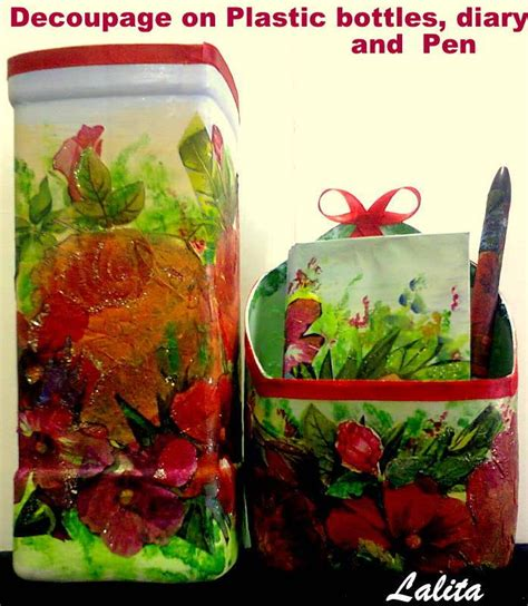 decoupage plastic container re cycle your plastic bottles and decoupage simple