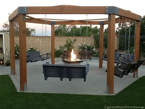 pergola with pit porch swing pit pergolas swings and backyard
