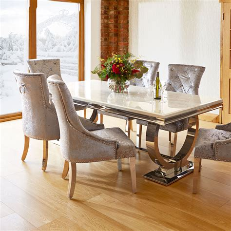 dining tables and chairs sale uk marble and chrome dining table and 6 silver louis
