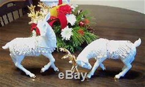 santa and reindeer figurines grandeur noel white gold porcelain santa sleigh 2