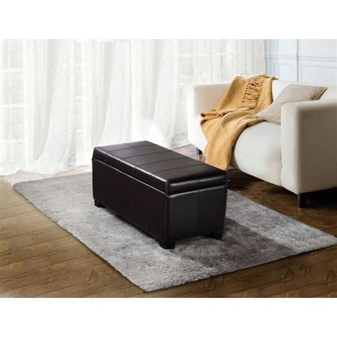rectangular leather storage ottoman simpli home dover collection rectangular faux leather