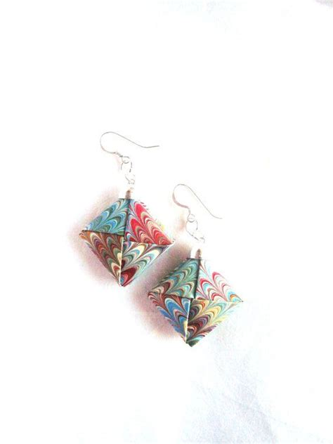 origami earrings marbled paper earrings paper origami jewelry