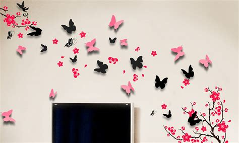 3d butterfly stickers for walls removable wall stickers groupon goods