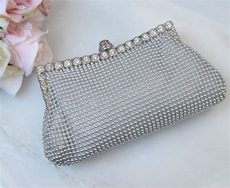 beaded clutch bag beaded bridal clutch bag silver by yatris