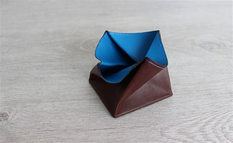 purse origami origami leather coin purse row brown and arctic blue