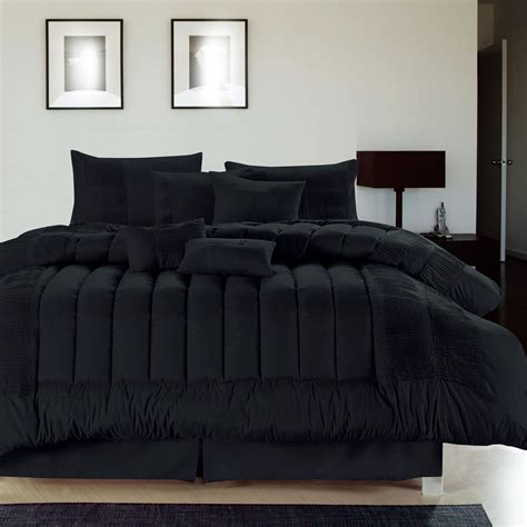 black comforter sets seville black 8 comforter bed in a bag set new