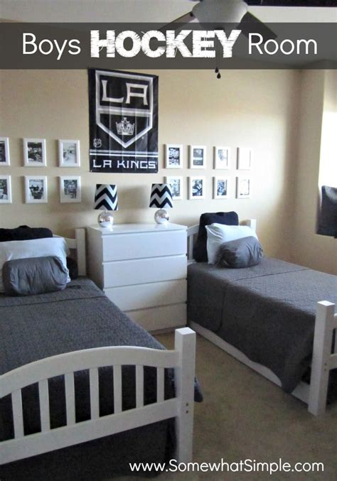hockey bed frame he shoots he scores boys hockey bedroom somewhat simple