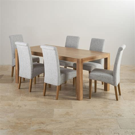 oak dining room table and 6 chairs alto solid oak 6ft dining table with 6 grey fabric chairs