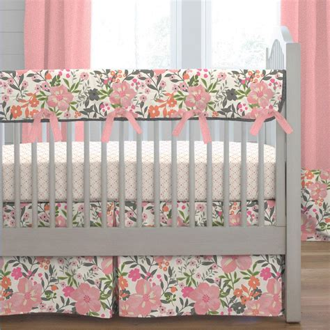 floral crib bedding coral pink tropic floral crib bedding carousel designs