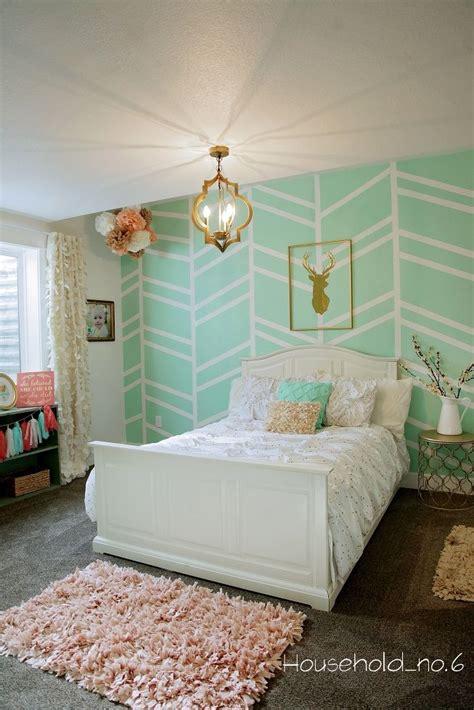 mint green bedroom ideas mint and gold bedroom harringbone wall
