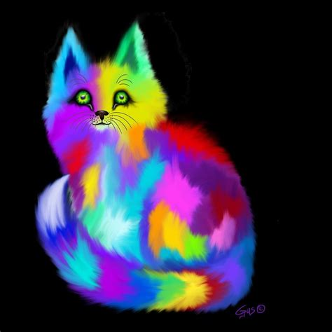 rainbow cat painting another rainbow fluffy cat painting by nick gustafson