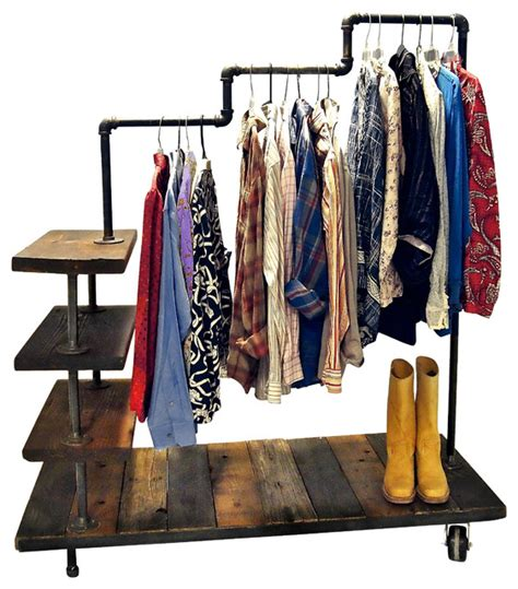 clothes rack with shelves industrial pipe garment rack industrial clothes