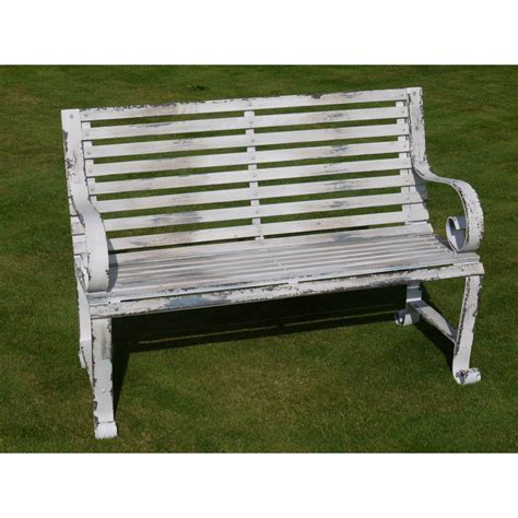 shabby chic garden bench shabby chic metal bench distressed swanky interiors