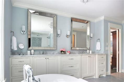 beveled mirrors for bathroom ivory and blue bathroom with beaded beveled mirrors