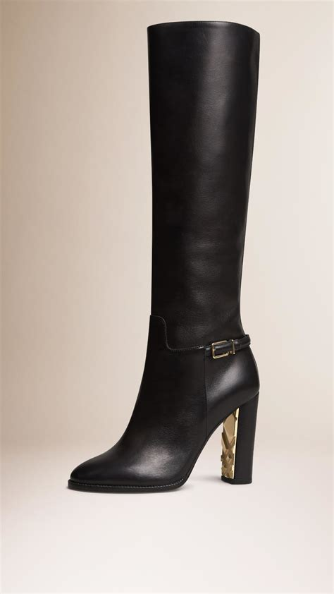 leather knee high boots for burberry knee high leather boots in black lyst