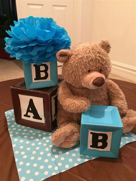 teddy centerpieces for baby shower alphabet blocks and teddy themed centerpiece baby
