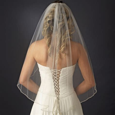 beaded wedding veil single tier veil with pearl bugle beaded edge in white
