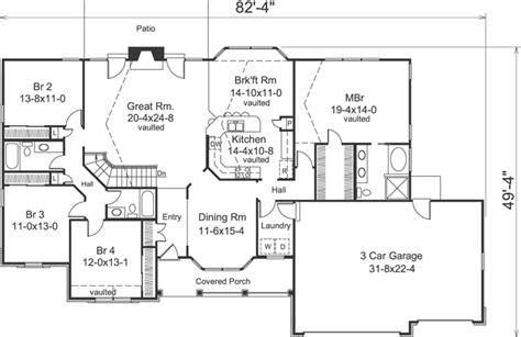 4 bedroom ranch floor plans 4 bedroom 3 bath house plans homes floor plans