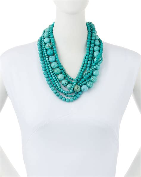 turquoise bead necklace kenneth stabilized turquoise bead multistrand