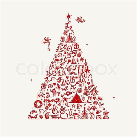 Christmas Home Design Inspiration weihnachtsbaum skizze f 252 r ihr design vektorgrafik