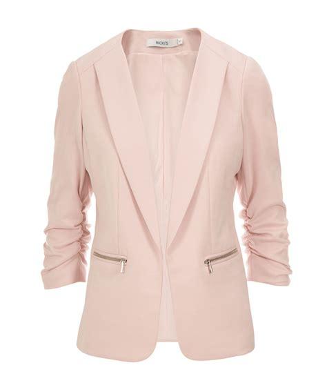 pink knit blazer knit ruched zipper blazer rickis
