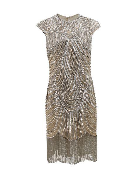 fringe beaded dress naeem khan deco beaded fringe dress in gold