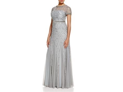 blue beaded gown papell sleeve beaded gown in blue lyst