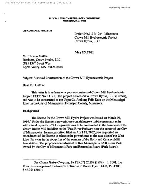Authorization Letter Sample For Electric Bill ferc termination letter to crown hydro