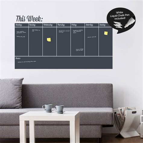 erase wall sticker write and erase weekly planner wall sticker by sirface
