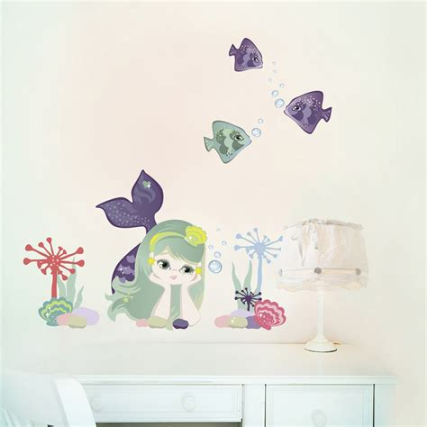 mermaid wall sticker mermaid fabric removable fabric wall stickers
