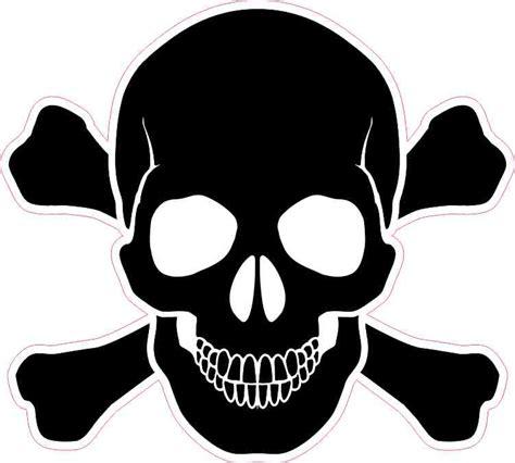 black skull 5in x 5in black skull and crossbones bumper sticker vinyl