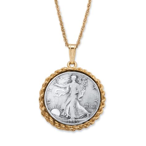 jewelry pendants genuine half dollar pendant necklace in yellow gold tone