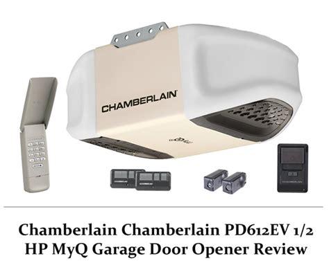 chamberlain garage door opener chamberlain pd612ev 1 2 hp myq garage door opener review