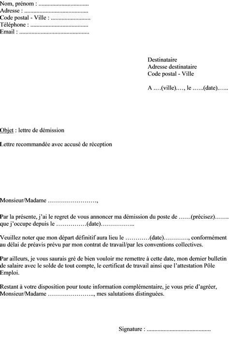 mod 232 le de lettre de d 233 mission dans le cadre d un contrat 224 dur 233 e ind 233 termin 233 e cdi actualit 233 s