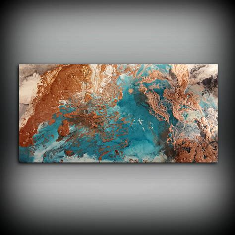 acrylic paint on walls copper coastal painting 24 x 48 acrylic painting