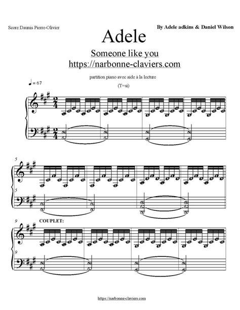 partition piano exacte et gratuite avec aide 224 la lecture de adele someone like you https