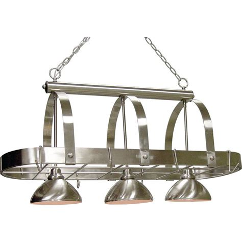 kitchen light pot rack volume lighting 3 light brushed nickel pot rack pendant