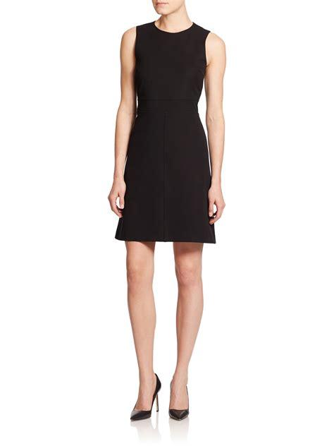 knit black dress theory raneid seamed knit dress in black lyst