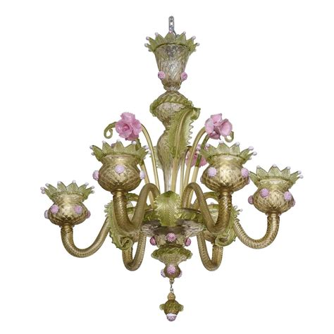 pink and green chandelier 1930s louis xv style green and pink murano glass