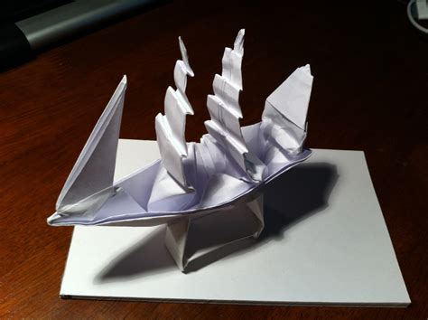 origami ships 149 the black pearl in a bottle setting the crease
