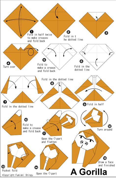 origami monkey diagram gorilla easy origami for easy origami