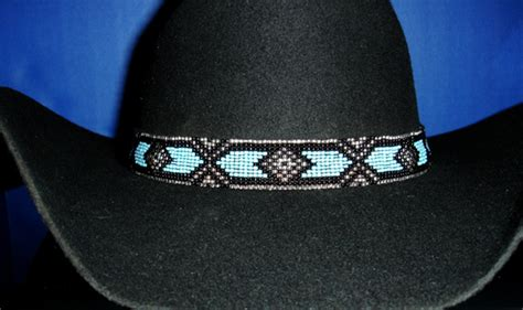 beaded hat bands for cowboy hats western equestrian decor cowboy blue black beaded