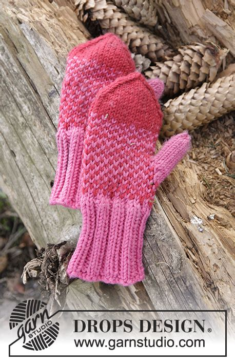drops knitting patterns free warmhearted mittens in two coloured pattern for the