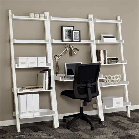 leaning bookshelf desk white linea leaning bookcase the container store
