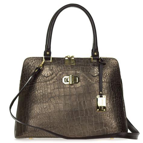 croc embossed leather handbags giordano italian made metallic brown pewter crocodile embossed leather tote handbag