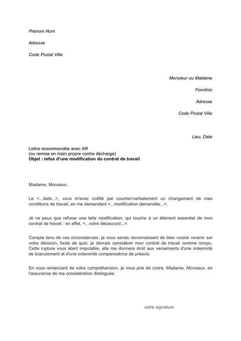Modification Du Contrat De Travail En by Calam 233 O Lettre De Refus Modification Contrat De Travail