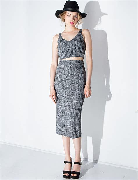 grey knit skirt joa gray grey knit sweater midi skirt lyst