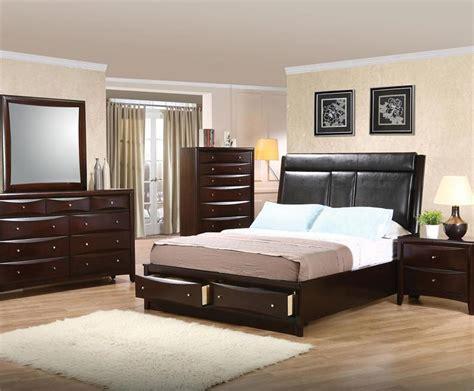 bedroom set with leather headboard leather headboard storage bedroom set pheonix collection