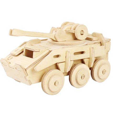wooden craft kits for unfinished 3d explosion proof armored car wood puzzle