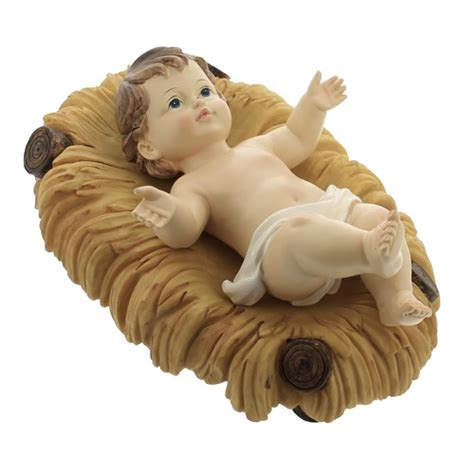 baby jesus in the crib removable infant jesus with crib 10 quot the catholic company